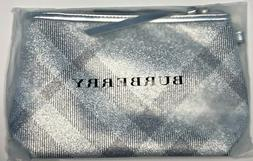 BURBERRY Makeup Bag Travel Pouch Metallic Silver Plaid Cosme
