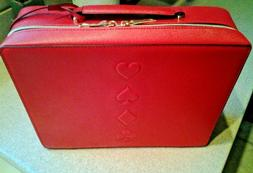 Estee Lauder Makeup Cosmetic Bag TRAIN CASE Faux Leather Han