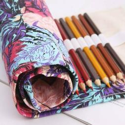 Maple Leaf Canvas Roll Up Makeup Pencil Bag Wrap Pen Case Ho