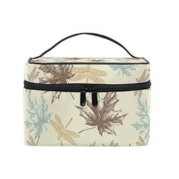 ALIREA Maple Leaves And Dragonfly Cosmetic Bag Travel Makeup