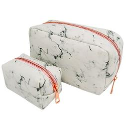 Marble Makeup Bag - 2 piece set white Cosmetic bags with met