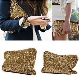 Women Metallic All Over Gold Sequins High Shine Bling Cosmet