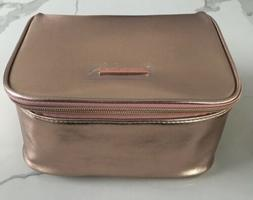 VINCE CAMUTO metallic rose gold makeup bag cosmetic pouch tr