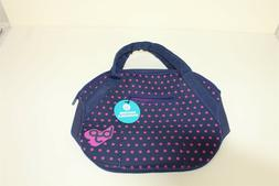 Midtown Mini Satchel Makeup Bag Blue with Pink Polka Dots by