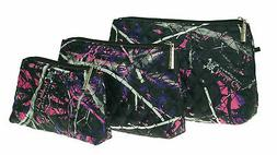 Muddy Girl Purple Pink Quilted Cosmetic Bag 3 Piece Set