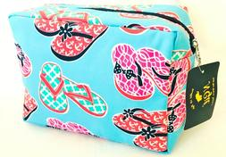 N.GIL COSMETIC BAG MAKEUP BAG TRAVEL BAG FLIP FLOPS BLUE GRE