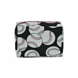 N. Gil Large Travel Cosmetic Bag - Baseball Print with Hot P
