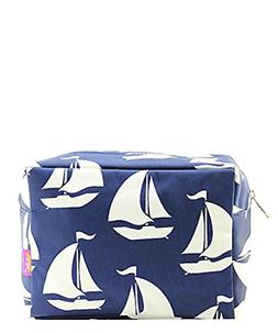 N. Gil Large Travel Cosmetic Pouch Bag Sailboat Navy Blue