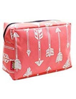 N. Gil Large Travel Cosmetic Pouch Bag Arrow Coral