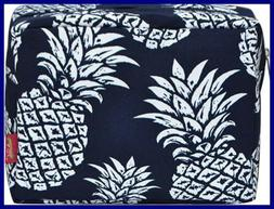 N. Gil LARGE Travel Cosmetic Pouch Bag 2 Pineapple NAVY BLUE