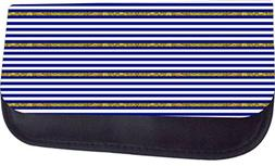 Navy and Gold Glitter Print Stripes TM Medium Sized Cosmetic