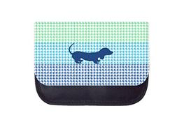 Navy puppy shillouette on colorblocked houndstooth TM Medium
