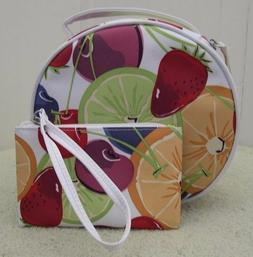 New 2 Pieces Clinique Fruity Cosmetic Makeup Bag Train Case