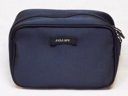NEW Prada Blue Textile Pouch Make Up Bag Small Holder Travel