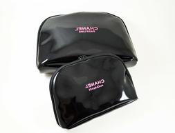 NEW Chanel Beauty Cosmetic Makeup Bag Black Patent Set of 2