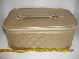 New Gold Elizabeth Arden Cosmetic Makeup Carrying Case Bag T