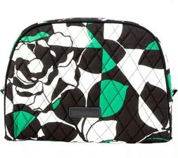 New Vera Bradley Large Zip Cosmetic Bag Imperial Rose Green