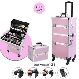 New Pro 3In1 Makeup Train Cases Bag Travel Trolley Organizer