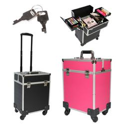 NEW Salon Rolling Makeup Cases Organizer Bag W/ Lock Key For