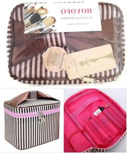Travel Makeup Cosmetic Bag By Hoyofo Pink Brown Stripe 9x6.7