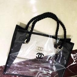 SMALL Chanel VIP BEAUTE  Black Clear Cosmetic tote bag Plast