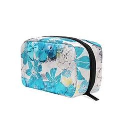 HU MOVR Makeup Organizer Ocean Blue Tropical Flower Womens Z