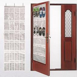 New Shoe Organizer Over The Door with 24 Reinforced Pockets