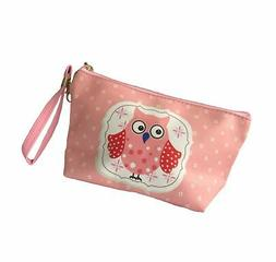 HOYOFO Owl Pattern Makeup Pouch Bag Wristlet Travel Cosmetic