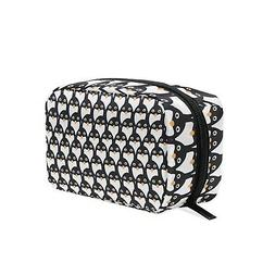 ALAZA Penguin Seamless Cosmetic Bag Black Zipper Storage Bag