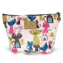 HUNGER Pink Cats Print Make-Up Cosmetic Bag Carry Case , 14