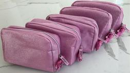 LANCOME pink shimmer makeup bag cosmetic pouch travel toilet