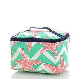 Pink Starfish Print Canvas Zip Top Cosmetic Carrying Case wi