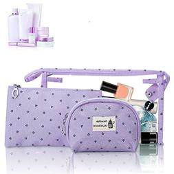 HOYOFO Portable Cosmetic Bags Set of 3 Different Sizes Makeu