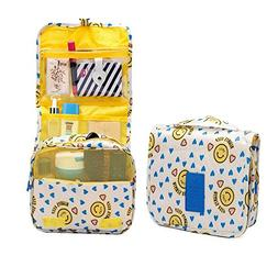 HOYOFO Portable Hanging Travel Toiletry Bag,Yellow Smile