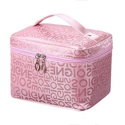 Portable pink cheap medium letter makeup bag with mirror wat