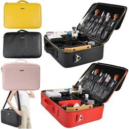 Portable PU Leather Makeup Brush Train Case Travel Cosmetic