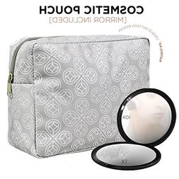 NATRULAX Large Travel Cosmetic Pouch + Dual Sided Compact Mi
