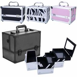 "Pro 9""Aluminum Makeup Train Case Jewelry Box Cosmetic Organi"