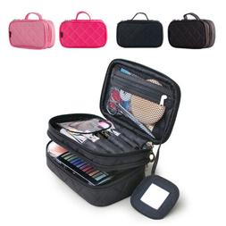 Women Travel Makeup Cosmetic Bag 2 Layer Beauty Brush Toilet