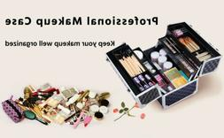Black Cosmetic bag Makeup Train Case Professional Lock Cosme