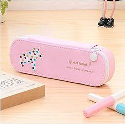PU Leather Pencil Case Students Cute Pen Bag Pouch Stationar