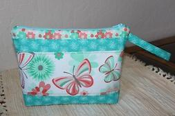 HANDMADE QUILTED COTTON COSMETIC MAKEUP BAG BUTTERFLY FLORAL