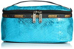 LeSportsac Rectangular Train Case Top Handle Bag, Aqua Snake