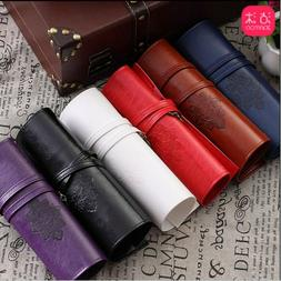 Retro pu Leather Pencil Case Twilight City Roll Pen Box Make