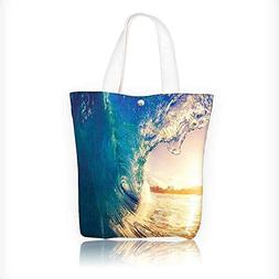 Reusable Cotton Canvas Zipper bag Ocean Wave At Sunrise Refl