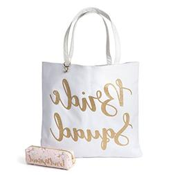 Reversible Bride Canvas Tote Bag with Cosmetic Bag