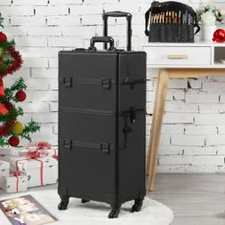 Makeup Train Case Professional Cosmetic Travel Rolling Vanit