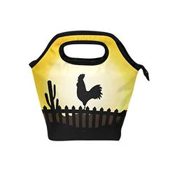 Florence Rooster Silhouette With Sunrise Cooler Warm Pouch L