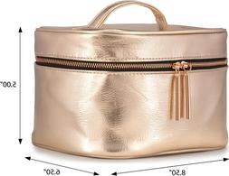 Large Rose Gold Metallic Cosmetic Makeup Train Toiletry Orga