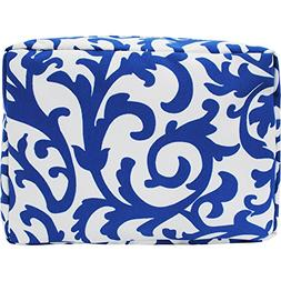 Royal Blue Damask Print NGIL Large Cosmetic Travel Pouch
